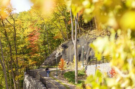 sentier en serpentins à Québec l'automne